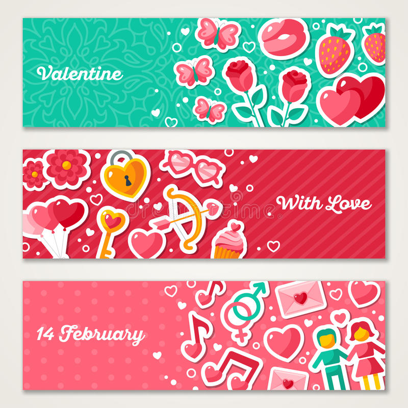 Установленные знамена валентинок горизонтальные бесплатная иллюстрация