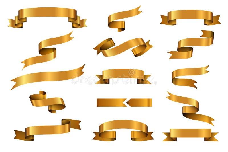 Установленные знамена вектора ленты золота лоснистые иллюстрация штока