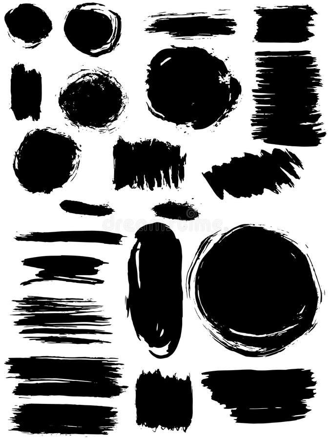 Установленные знамена выплеска помарками Текстура Grunge иллюстрация вектора