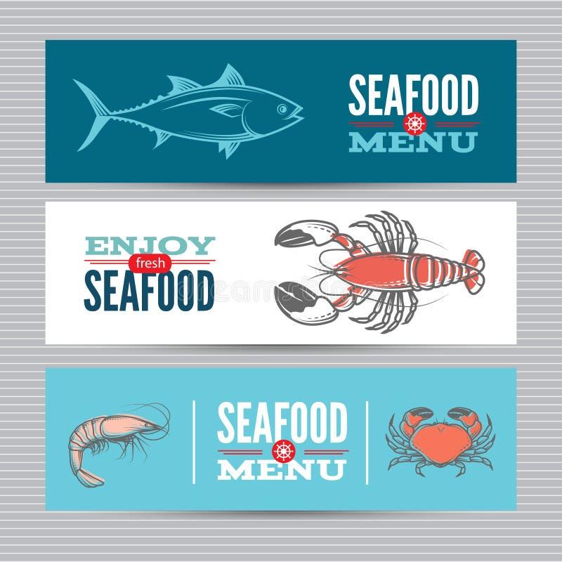 Установленные знамена морепродуктов иллюстрация штока