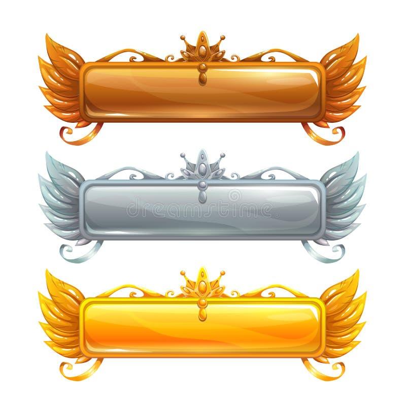 Установленные знамена названия вектора шаржа бесплатная иллюстрация