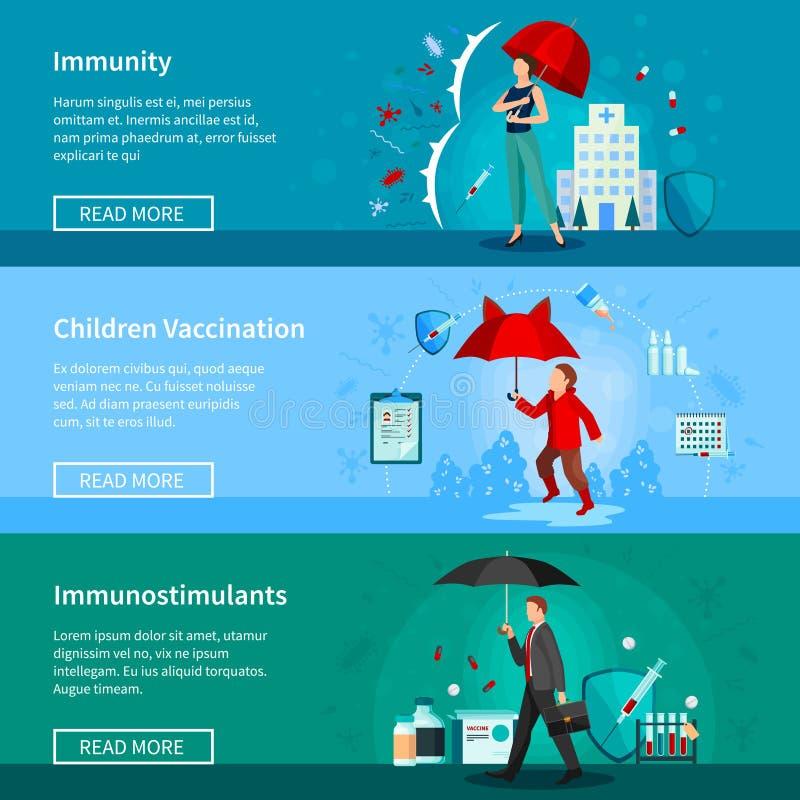 Установленные знамена невосприимчивости и вакцинирования бесплатная иллюстрация