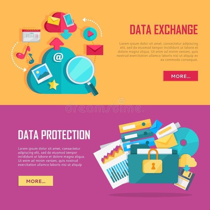 Установленные знамена обмена данными и защиты иллюстрация вектора