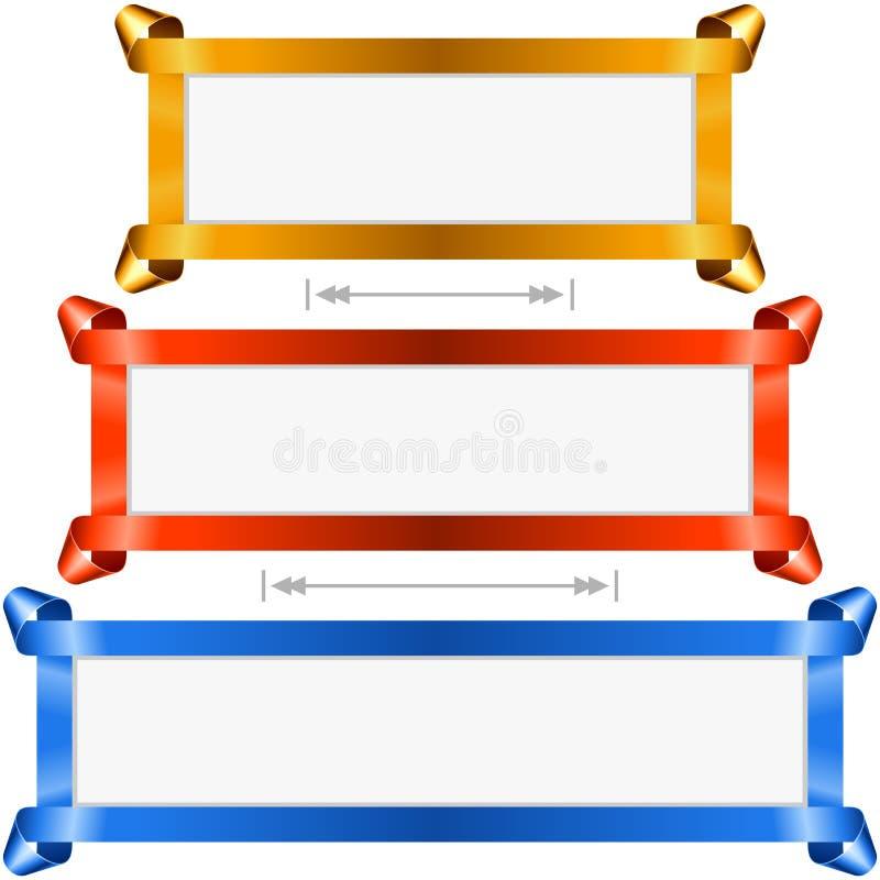 Установленные знамена праздника вектора Золотая, красная и голубая рамка ленты иллюстрация вектора