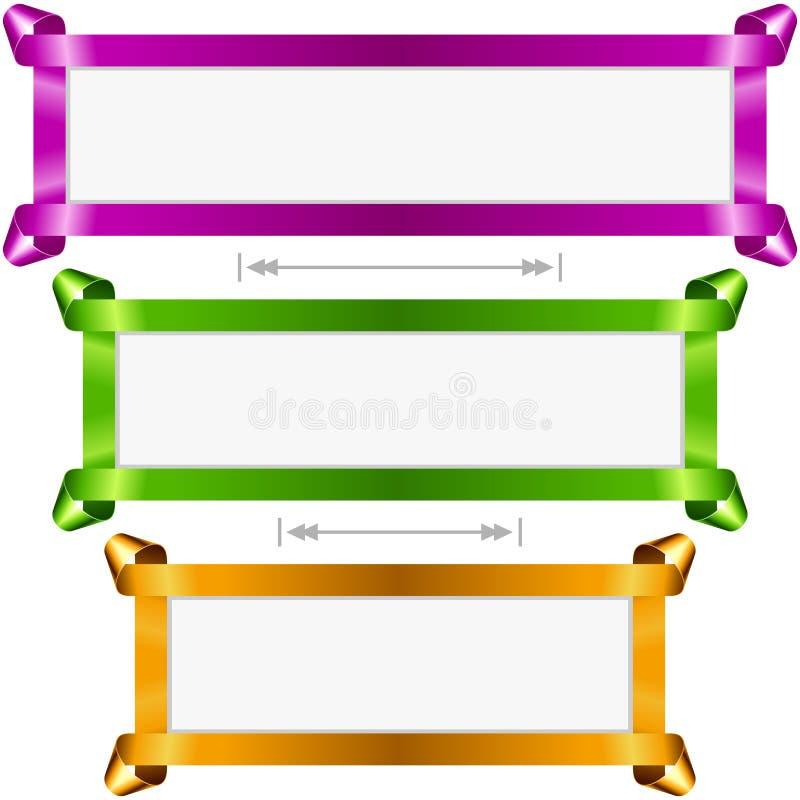 Установленные знамена праздника вектора Фиолетовая, зеленая и золотая рамка ленты бесплатная иллюстрация