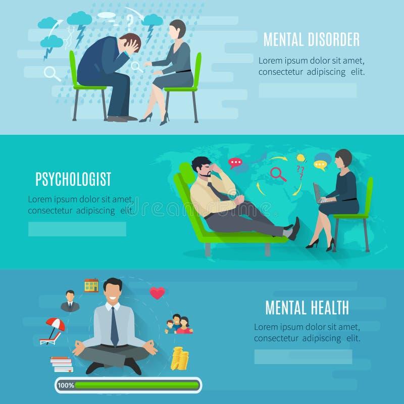 Установленные знамена психических здоровий плоские иллюстрация штока