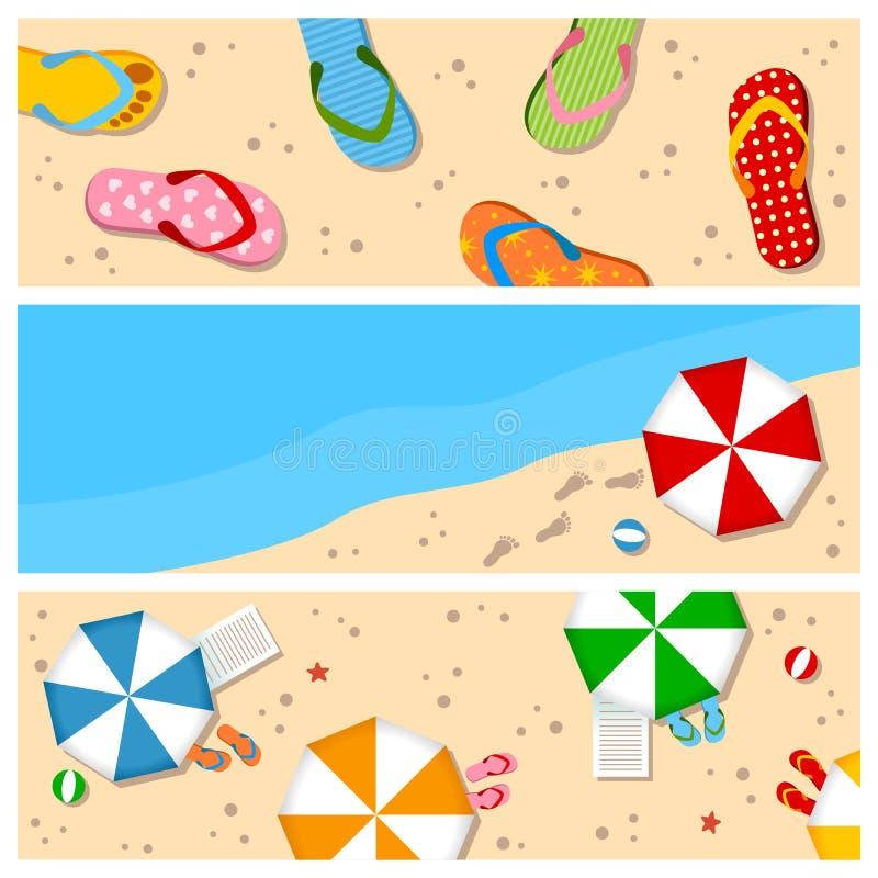 Установленные знамена пляжа лета бесплатная иллюстрация
