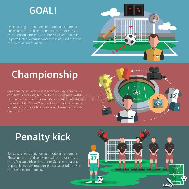 Установленные знамена спорта футбола иллюстрация вектора