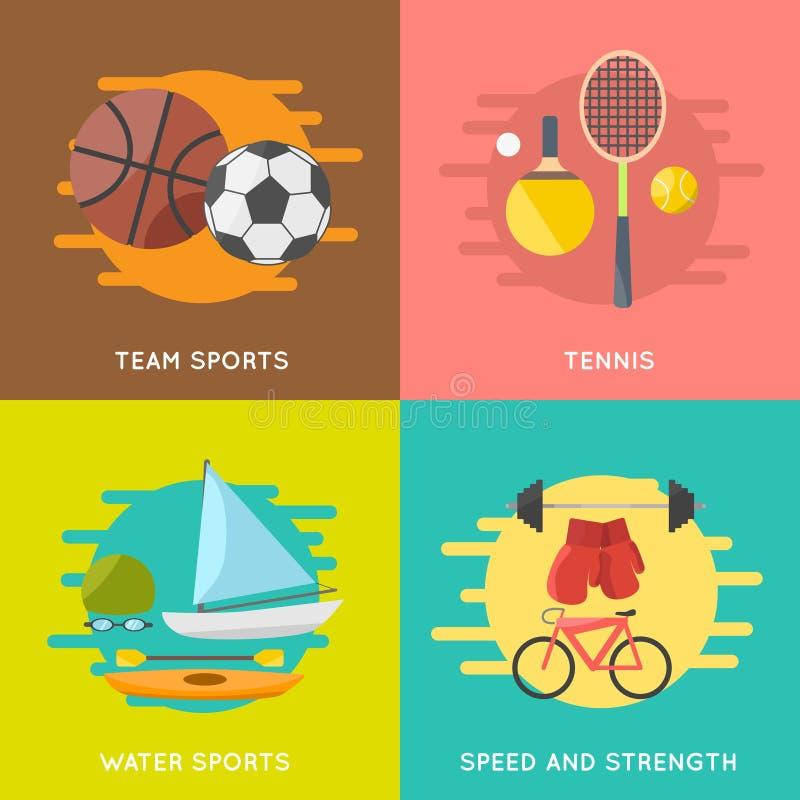 Установленные знамена спорта стоковые изображения rf