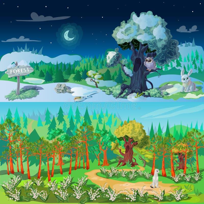 Установленные знамена элементов леса иллюстрация штока