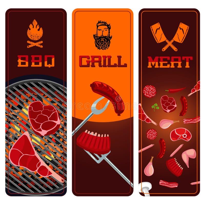 Установленные знамена BBQ, мяса и гриля вертикальные Ингридиенты барбекю иллюстрация вектора