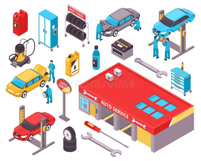 Установленные значки автоматического обслуживания равновеликие бесплатная иллюстрация