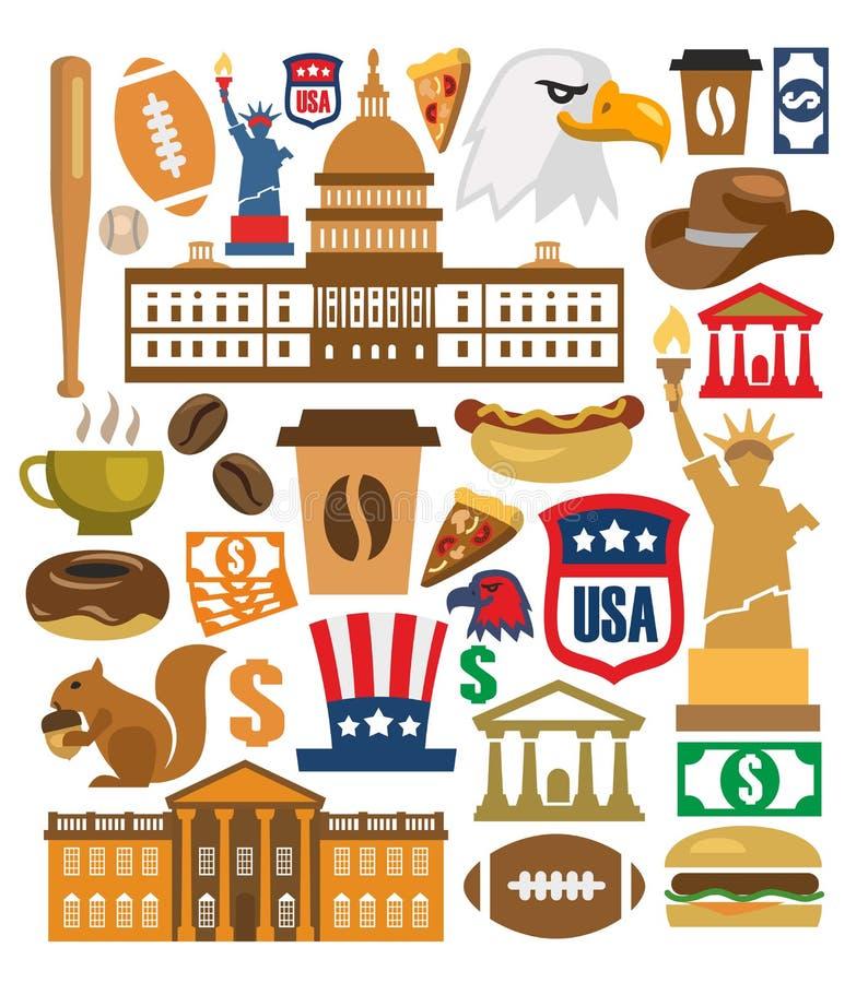 Установленные значки Америки вектора иллюстрация штока