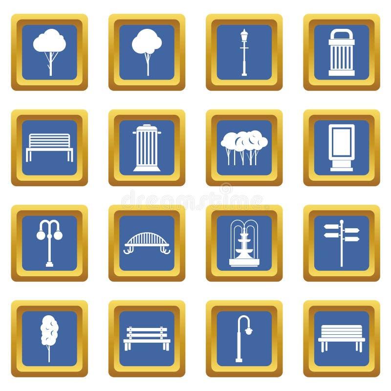 Установленные значки ангара голубыми бесплатная иллюстрация