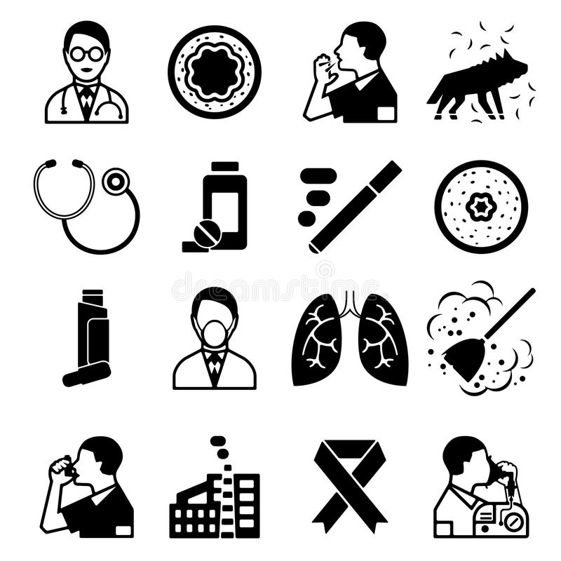 Установленные значки астмы черные бесплатная иллюстрация