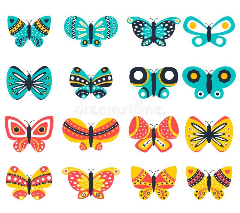 Установленные значки бабочки вектора бесплатная иллюстрация