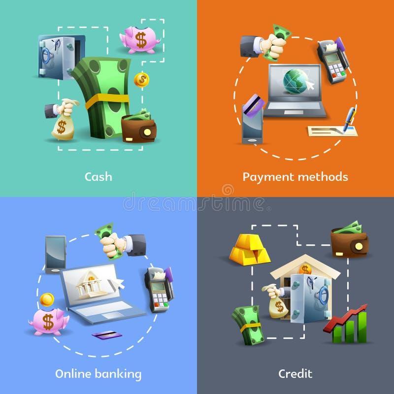 Установленные значки банка и оплаты иллюстрация вектора