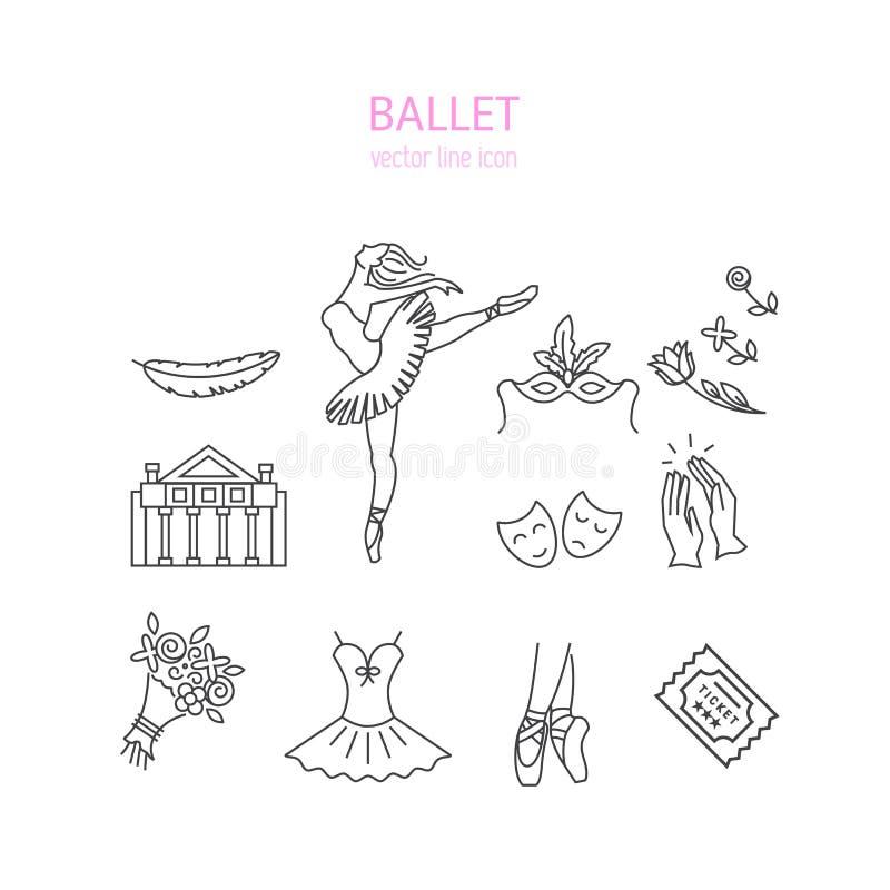 Установленные значки балета иллюстрация штока