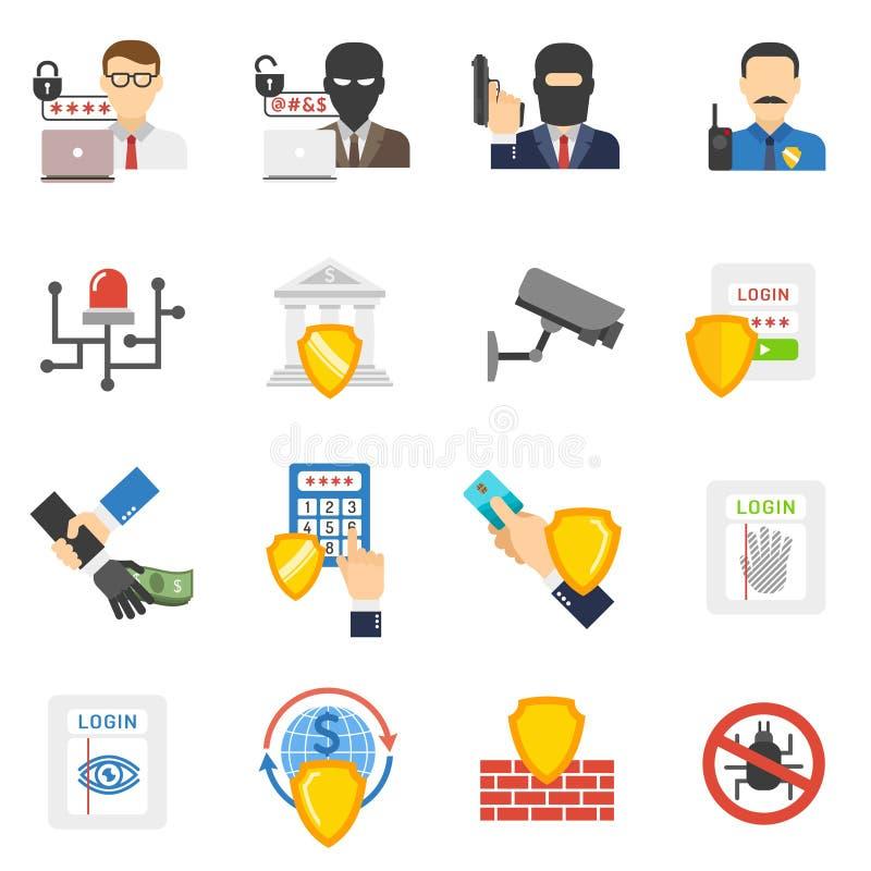 Установленные значки безопасностью банка плоские иллюстрация штока