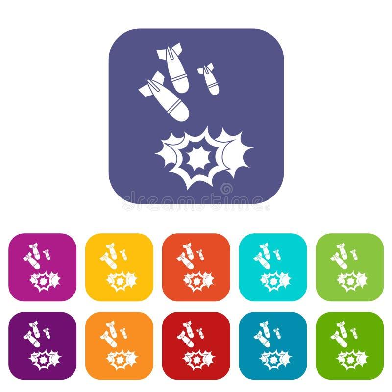 Установленные значки бомбы иллюстрация вектора