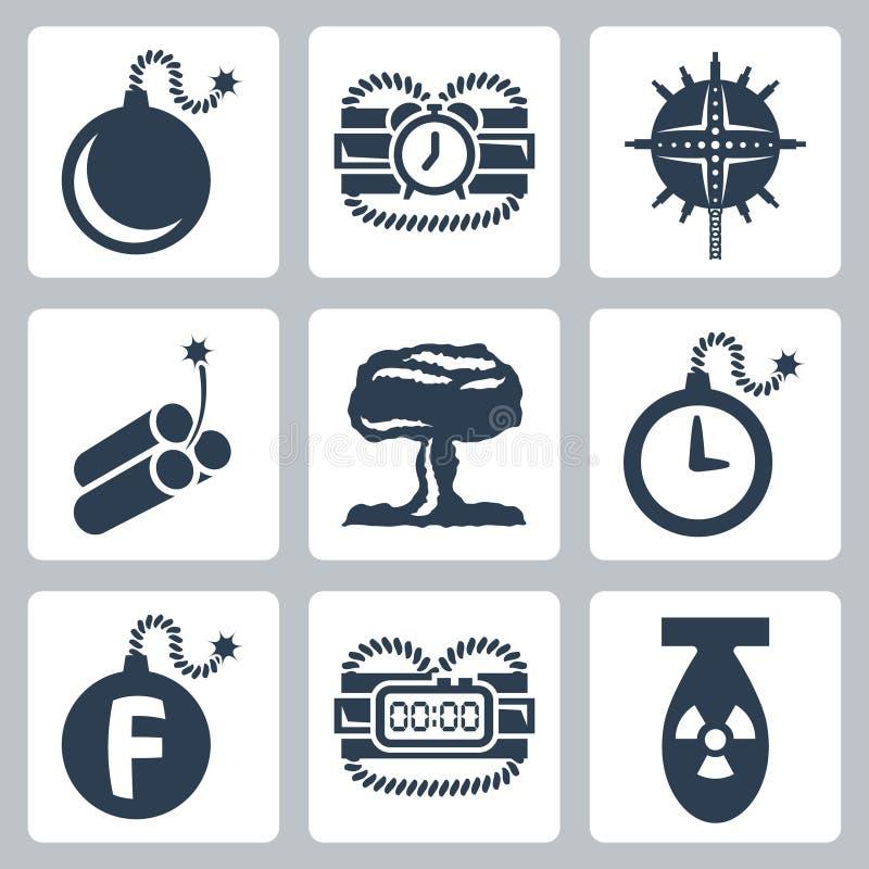 Установленные значки бомб вектора бесплатная иллюстрация
