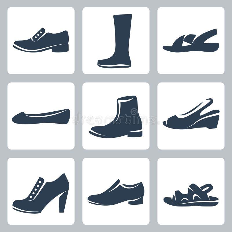 Установленные значки ботинок вектора иллюстрация вектора
