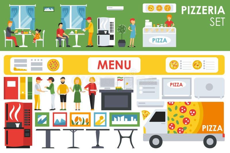 Установленные значки большой детальной пиццерии внутренние плоские бесплатная иллюстрация
