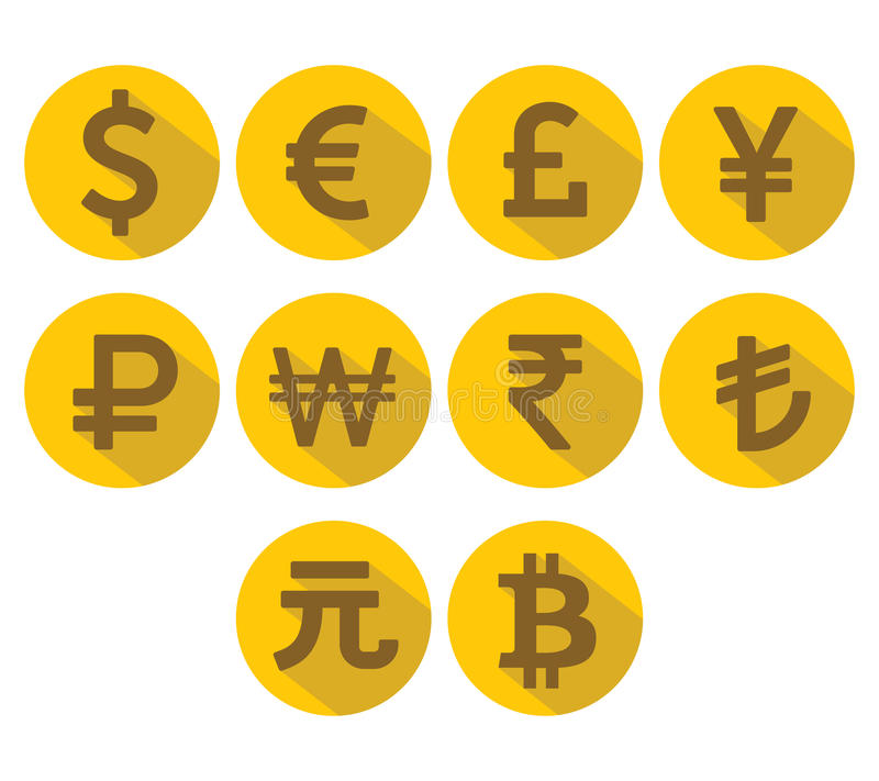 Установленные значки валюты Плоский дизайн с длинной тенью иллюстрация вектора