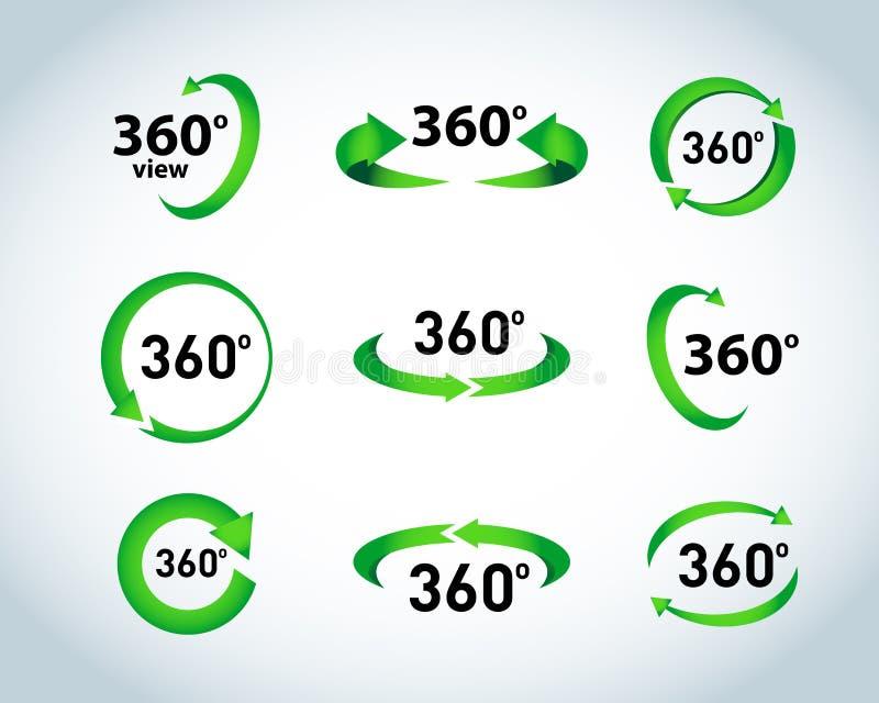 Установленные значки вектора взгляда 360 градусов Значки виртуальной реальности Изолированные иллюстрации иллюстрация вектора