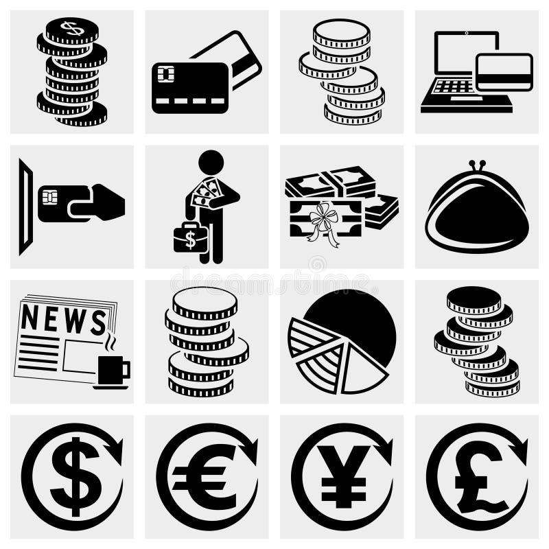 Установленные значки вектора денег. иллюстрация вектора