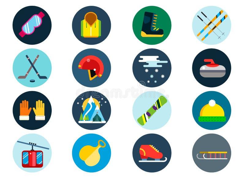 Установленные значки вектора спорта зимы иллюстрация штока