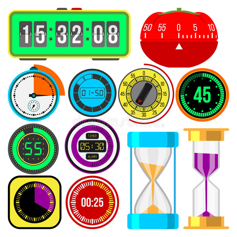 Установленные значки вектора часов и вахт бесплатная иллюстрация