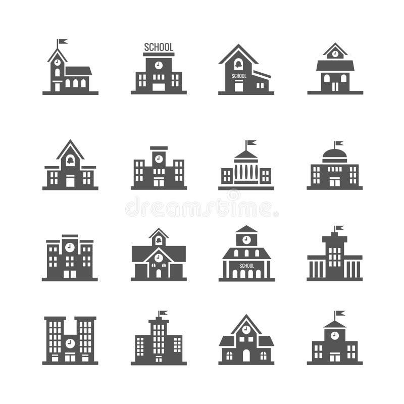 Установленные значки вектора школьного здания иллюстрация вектора