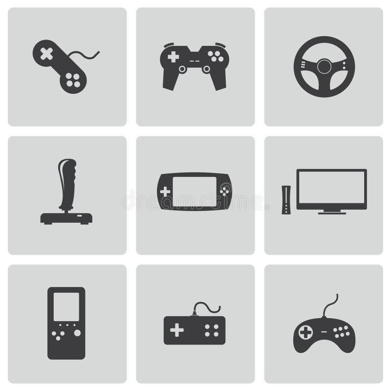 Установленные значки видеоигры вектора черные иллюстрация штока