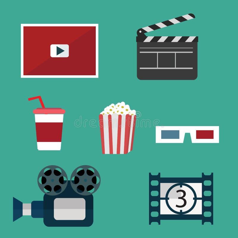 Установленные значки видео и кино бесплатная иллюстрация