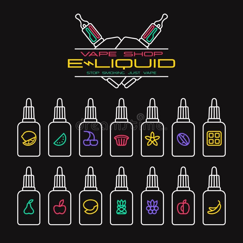Установленные значки вкусов e-жидкости магазина Vape бесплатная иллюстрация