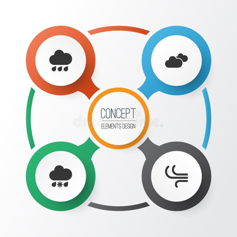 Установленные значки воздуха Собрание ветерка, ненастный, погоды и других элементов Также включает символы как облака, погода иллюстрация вектора