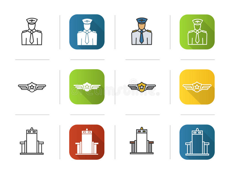 Установленные значки воздушных судн Плоские стили дизайна, линейных и цвета Пилот, ярлык, символ строба блока развертки металла И иллюстрация вектора