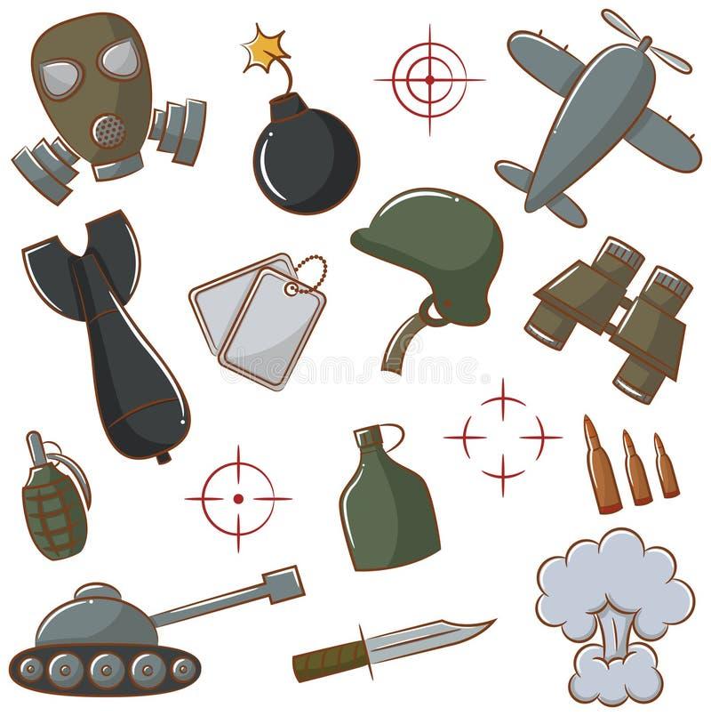 Установленные значки войны иллюстрация вектора