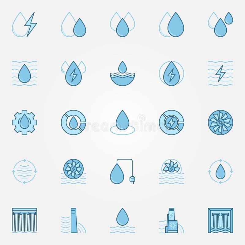 Установленные значки гидроэлектроэнергии голубые иллюстрация вектора