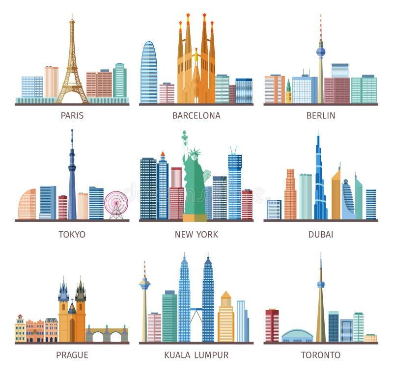 Установленные значки горизонтов городов иллюстрация штока