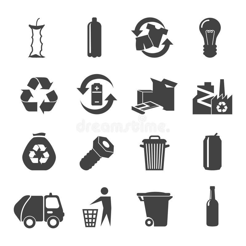 Установленные значки годных для повторного использования материалов иллюстрация штока