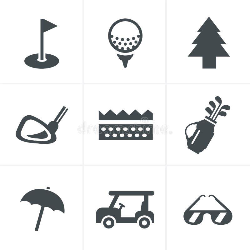 Установленные значки гольфа стоковые фотографии rf