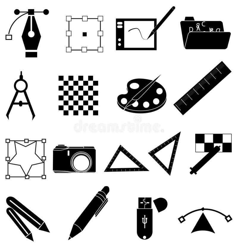 Установленные значки график-дизайнера иллюстрация вектора
