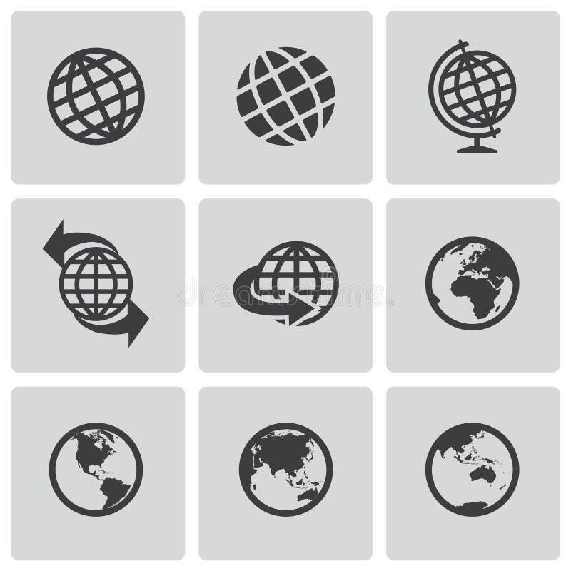 Установленные значки глобуса вектора черные бесплатная иллюстрация