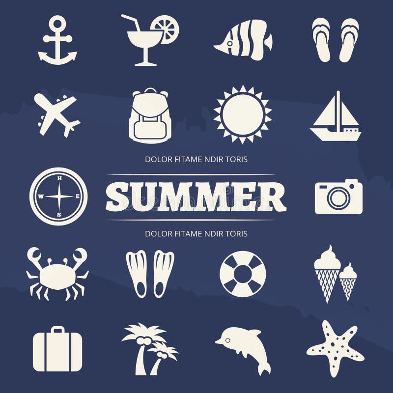 Установленные значки летних каникулов - значок приключения перемещения иллюстрация штока