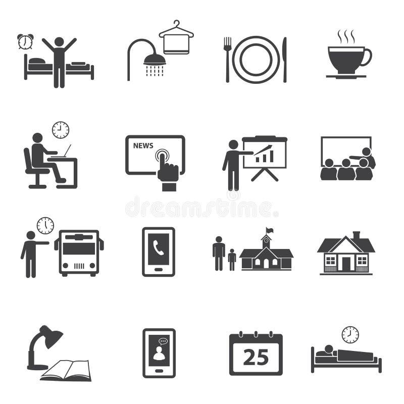 Установленные значки деятельности ежедневные по заведенному порядку иллюстрация вектора