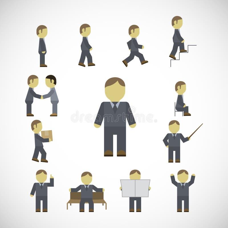 Установленные значки деятельностям при бизнесмена иллюстрация вектора