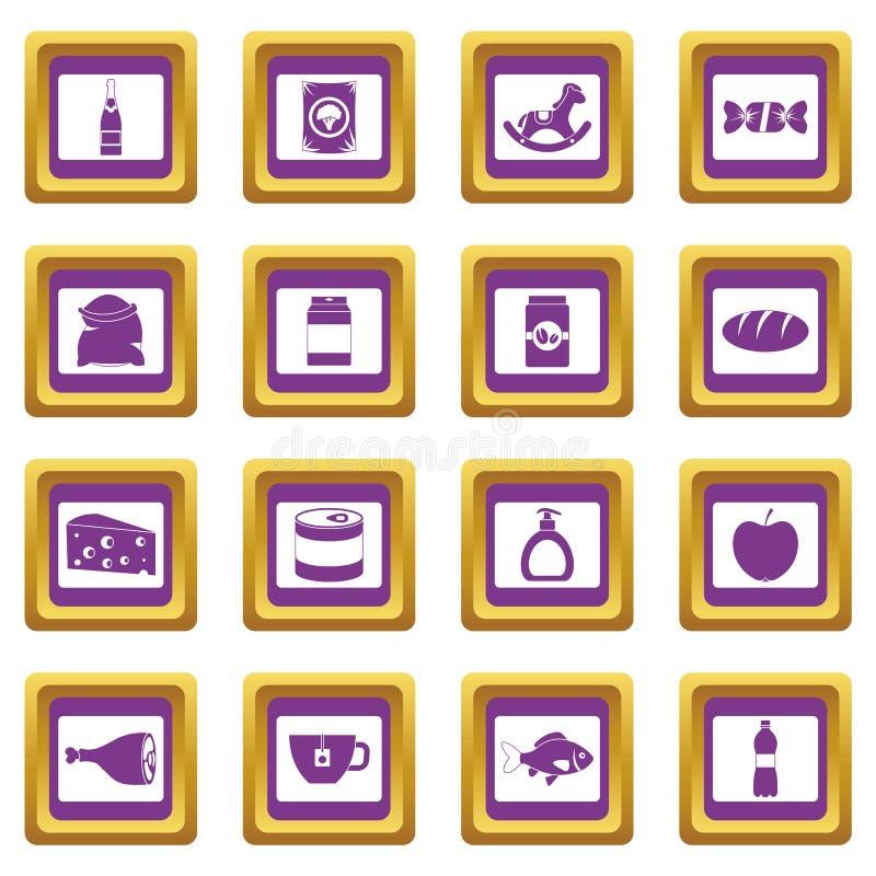 Установленные значки еды навигации магазина фиолетовыми иллюстрация вектора