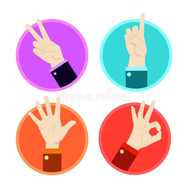 Установленные значки жеста рукой бесплатная иллюстрация